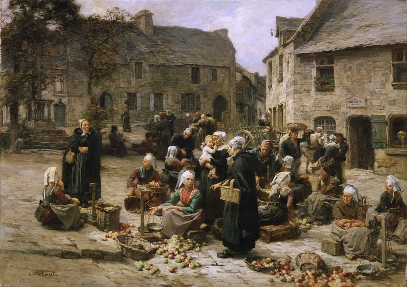 Léon-Augustin Lhermitte, French, 1844-1925 -- Apple Market, Landerneau, Brittany. Philadelphia Museum of Art
