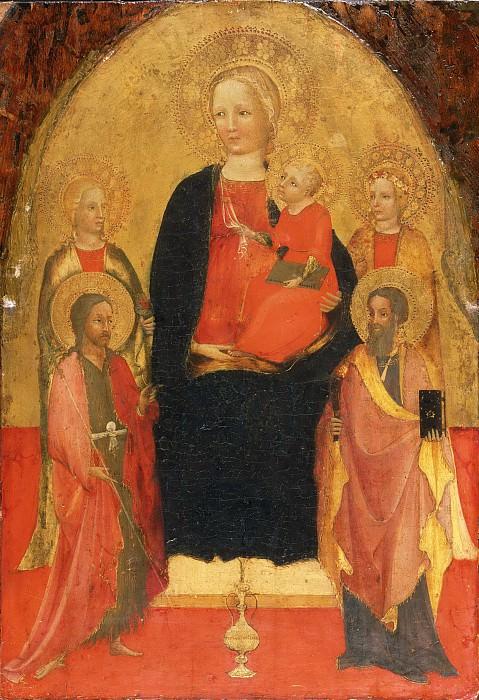 Мастер капеллы Браччолини (работал в Пистойе ок1390-1426) -- Мадонна с младенцем со святыми Лючией, Иоанном Крестителем, Розой и Варфоломеем. Музей искусств Филадельфии