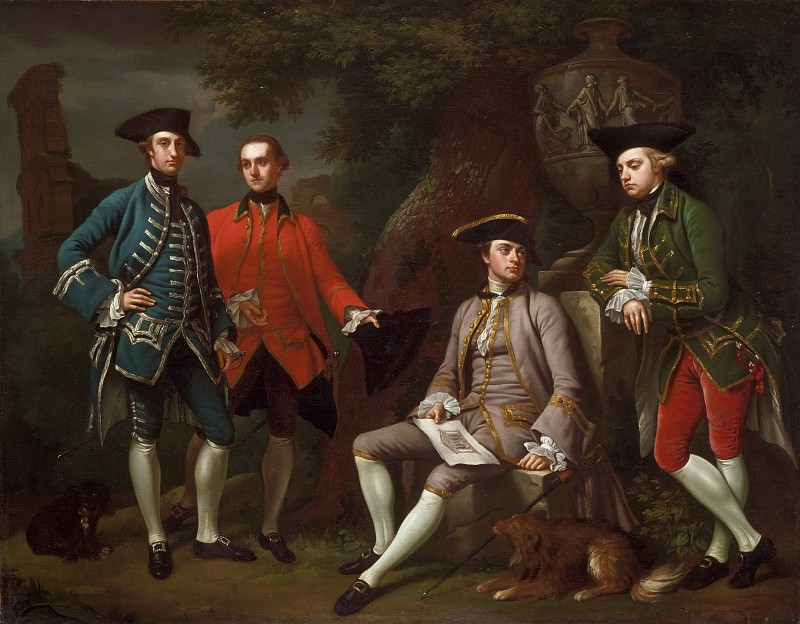 Nathaniel Dance, English, 1735-1811 -- Portrait of James Grant of Grant, John Mytton, the Honorable Thomas Robinson, and Thomas Wynne). Philadelphia Museum of Art