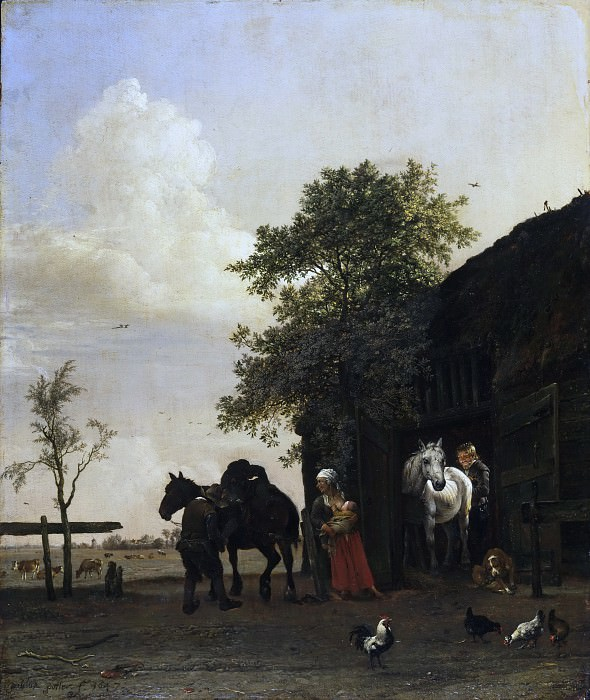 Paulus Potter, Dutch (active The Hague, Delft, and Amsterdam), 1625-1654 -- Figures with Horses by a Stable. Philadelphia Museum of Art