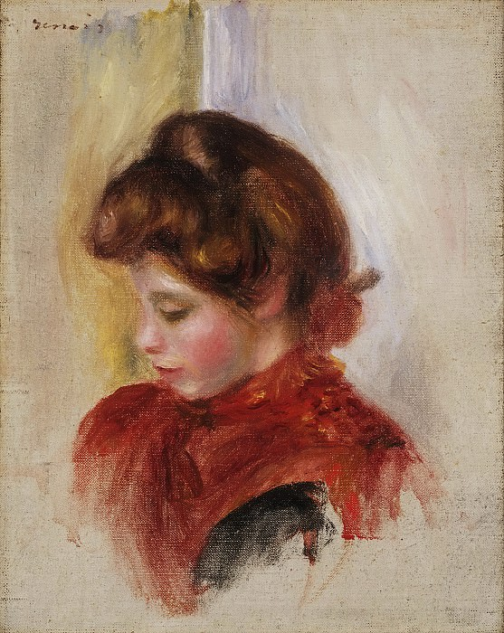 Pierre-Auguste Renoir, French, 1841-1919 -- Girl in a Red Scarf. Philadelphia Museum of Art