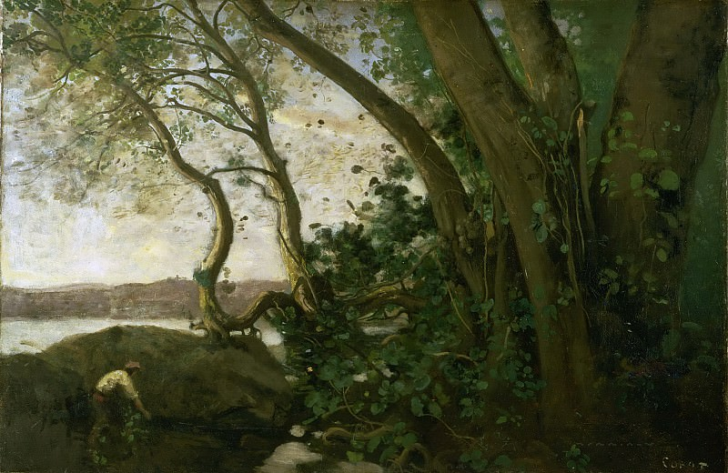 Jean-Baptiste-Camille Corot, French, 1796-1875 -- Edge of Lake Nemi. Philadelphia Museum of Art