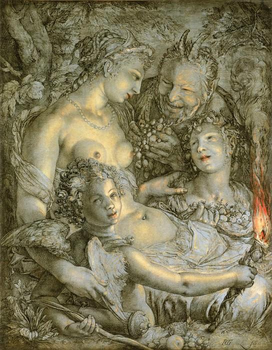 Гольциус, Хендрик (1558 Мюльбрехт - 1617 Харлем) -- Sine Cerere et Libero friget Venus (Без Цереры и Вакха Венера мерзнет). Музей искусств Филадельфии