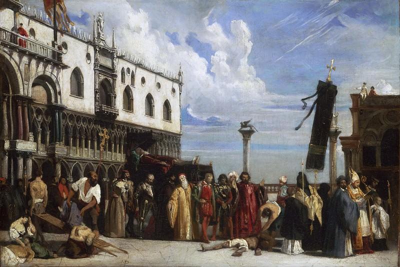 Эссе, Александр-Жан-Батист (1806-1879) -- Похороны Тициана, умершего во время чумы 1576 года.. Музей искусств Филадельфии