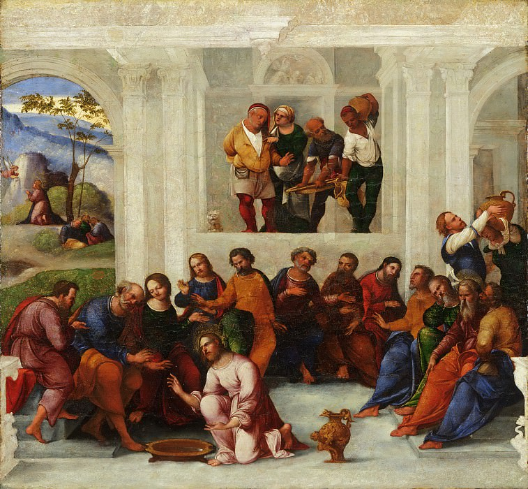Lodovico Mazzolino, Italian (active Ferrara), first documented 1504, died 1528-30 -- Christ Washing the Feet of the Disciples. Philadelphia Museum of Art