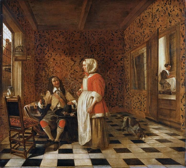 Hendrick van der Burch, Dutch (active Delft and Leiden), born 1627, still active 1666 -- An Officer and a Standing Woman. Philadelphia Museum of Art