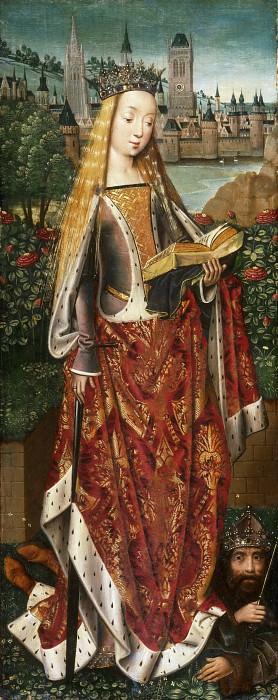 Мастер легенды святой Лючии (работал в Брюгге ок1470-00) -- Святая Екатерина Александрийская и побежденный император. Музей искусств Филадельфии