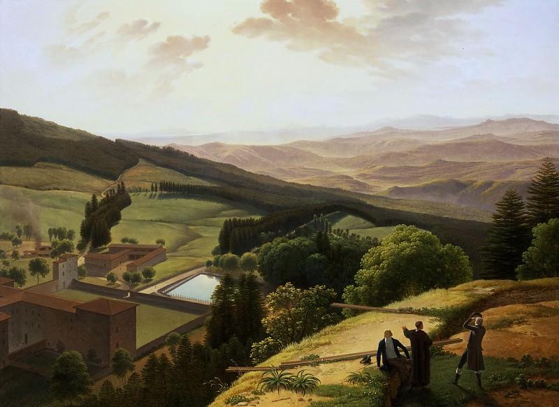Гоффье, Луи (1761 Ла Рошель - 1801 Флоренция) -- Вид на монастырь Валломброза и долину Арно из Парадизино. Музей искусств Филадельфии