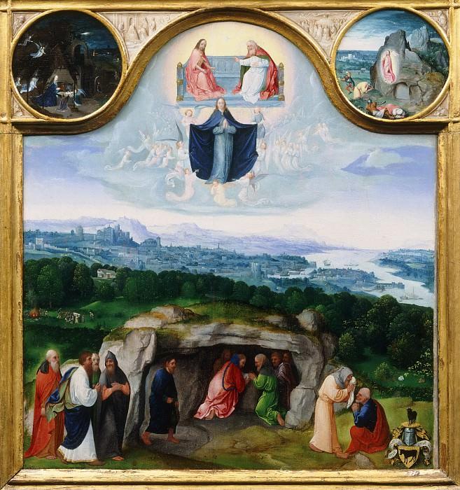 Joachim Patinir, Netherlandish (active Antwerp), c. 1485-1524 -- The Assumption of the Virgin, with the Nativity, the Resurrection, the Adoration of the Magi. Philadelphia Museum of Art
