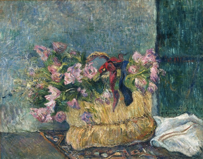 Paul Gauguin, French, 1848-1903 -- Still Life with Moss Roses in a Basket. Philadelphia Museum of Art