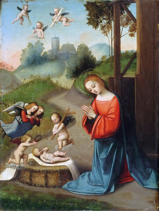 Ortolano (Giovanni Battista Benvenuti), Italian (active Ferrara), c. 1487-1527 -- The Adoration of the Christ Child. Philadelphia Museum of Art