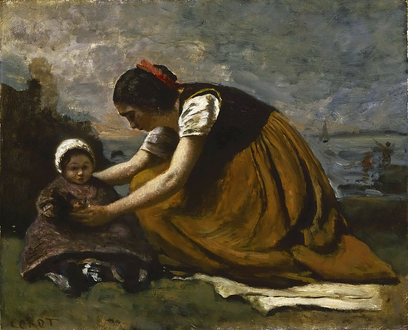 Jean-Baptiste-Camille Corot, French, 1796-1875 -- Mother and Child on a Beach. Philadelphia Museum of Art
