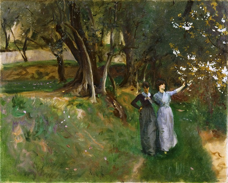John Singer Sargent, American (active London, Florence, and Paris), 1856-1925 -- Landscape with Women in Foreground. Philadelphia Museum of Art