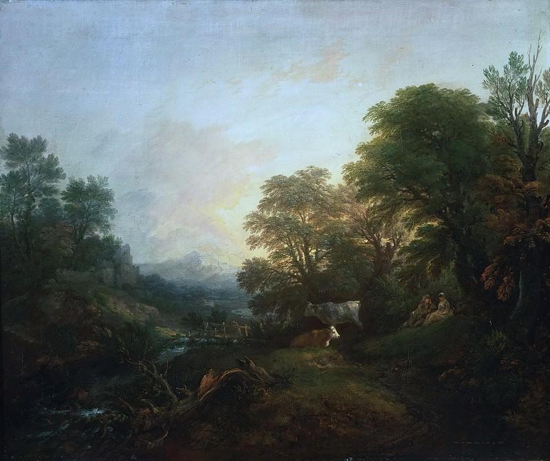 Гейнсборо, Томас (1727 Садбери - 1788 Лондон) - Сельские влюбленные, две коровы и человек вдали на мосту на фоне пейзажа. Музей искусств Филадельфии