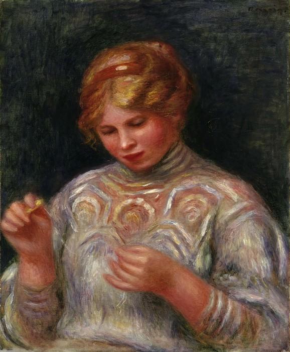 Ренуар, Пьер-Огюст (1841-1919) -- Девушка, плетущая кружево. Музей искусств Филадельфии