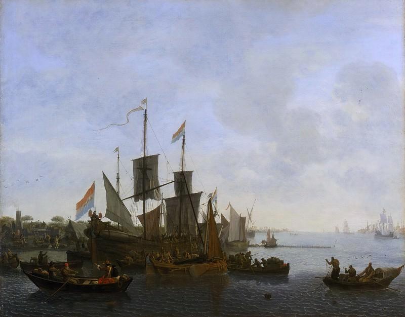 Версхейер, Ливе Питерс (Роттердам 1627-1686) -- Речной пейзаж. Музей искусств Филадельфии