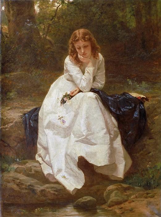 Амберг, Вильгельм (1822-1899) - Молодая женщина, сидящая у ручья (Размышления). Музей искусств Филадельфии