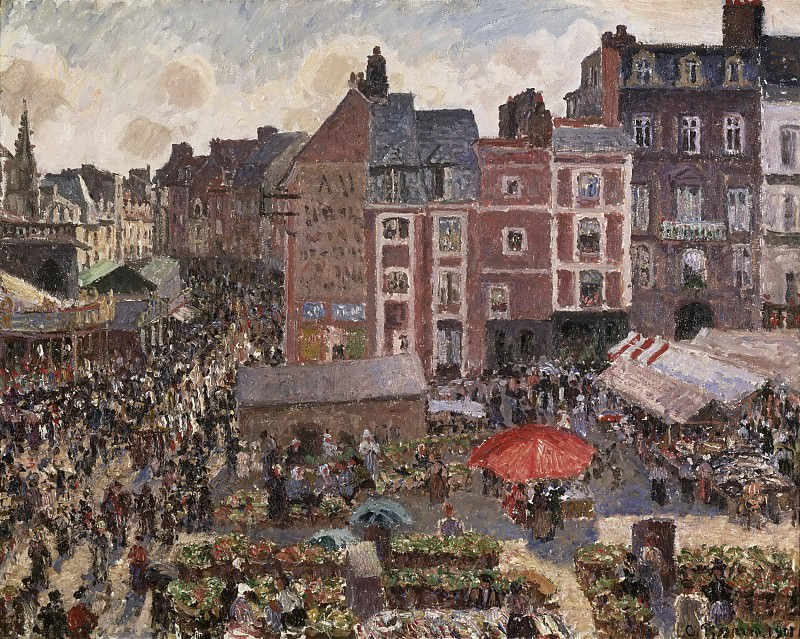 Camille Pissarro, French, 1830-1903 -- Fair on a Sunny Afternoon, Dieppe. Philadelphia Museum of Art