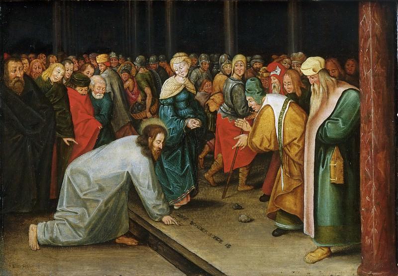Брейгель, Питер II (1564 Брюссель - 1638 Антверпен) -- Христос и прелюбодейка. Музей искусств Филадельфии