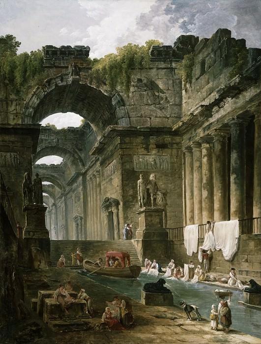 Hubert Robert, French, 1733-1808 -- Ruins of a Roman Bath with Washerwomen. Philadelphia Museum of Art