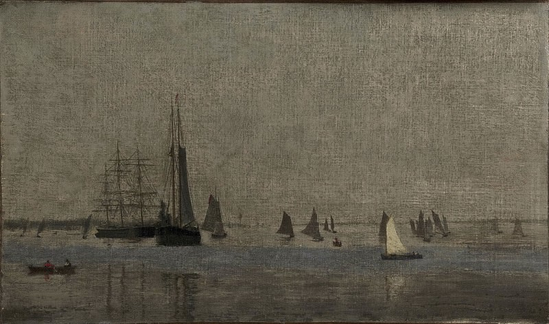 Thomas Eakins, American, 1844-1916 -- Ships and Sailboats on the Delaware. Philadelphia Museum of Art