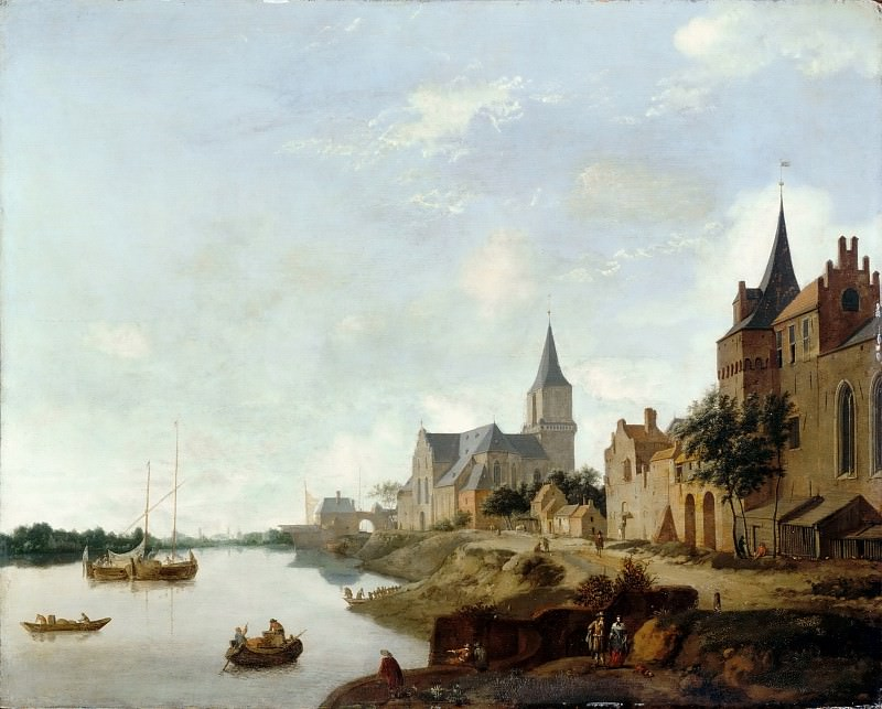 Jan van der Heyden, figures by Johannes Lingelbach -- The Rhine in Emmerich (Germany) with the Church of Saint Martin. Part 3 Louvre