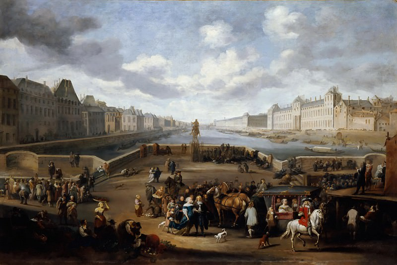 Hendrik Mommers -- The Louvre viewed from the Pont-Neuf. Part 3 Louvre