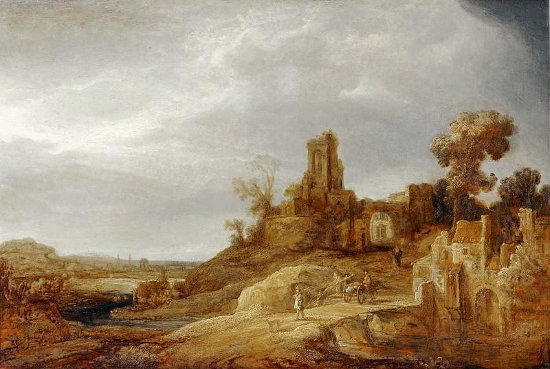 Govaert Flinck -- Landscape with a River and Ruins. Part 3 Louvre