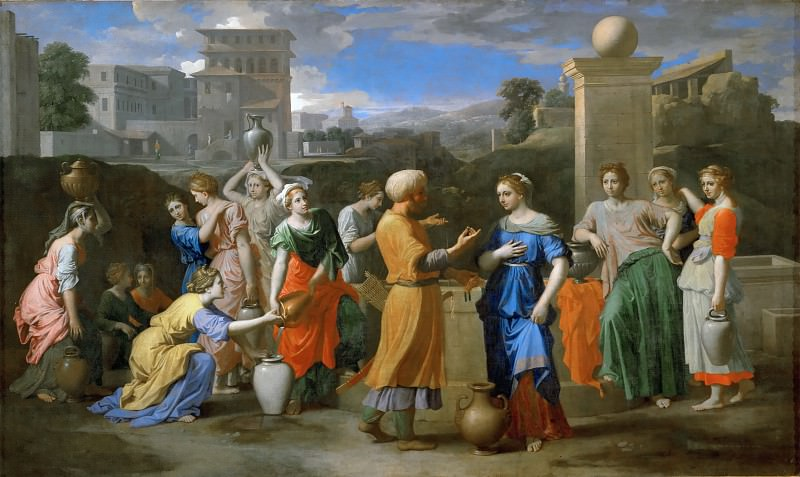 Nicolas Poussin -- Eleazer and Rebecca at the Well. Part 3 Louvre