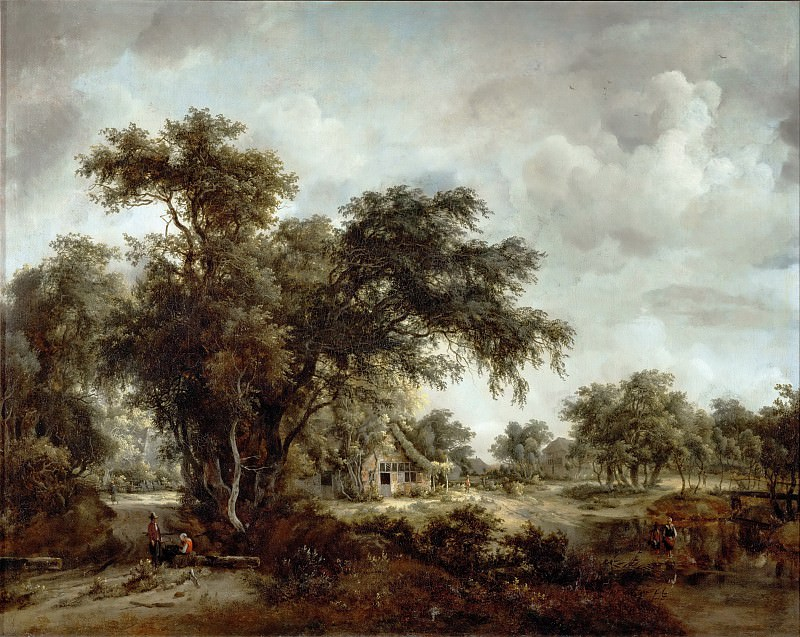 Meindert Hobbema (1638-1709) -- The Farmhouse. Part 3 Louvre