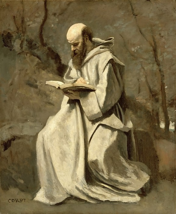 Jean-Baptiste-Camille Corot -- Monk in white, sitting, reading. Part 3 Louvre