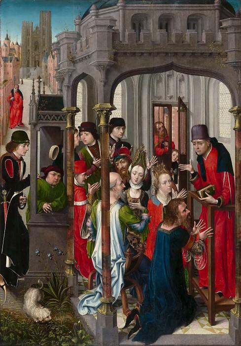 Мастер вида церкви святой Гудулы (работал в Брюсселе в 1470-90) -- Проповедь святого Гогерика с видом на собор святой Гудулы. часть 3 Лувр