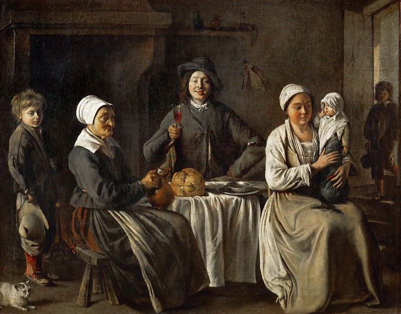 Antoine Le Nain (c. 1588-1648), Louis Le Nain (c. 1593-1648) or Mathieu Le Nain (1607-1677) -- Peasant Family, or the Return from the Baptism. Part 3 Louvre
