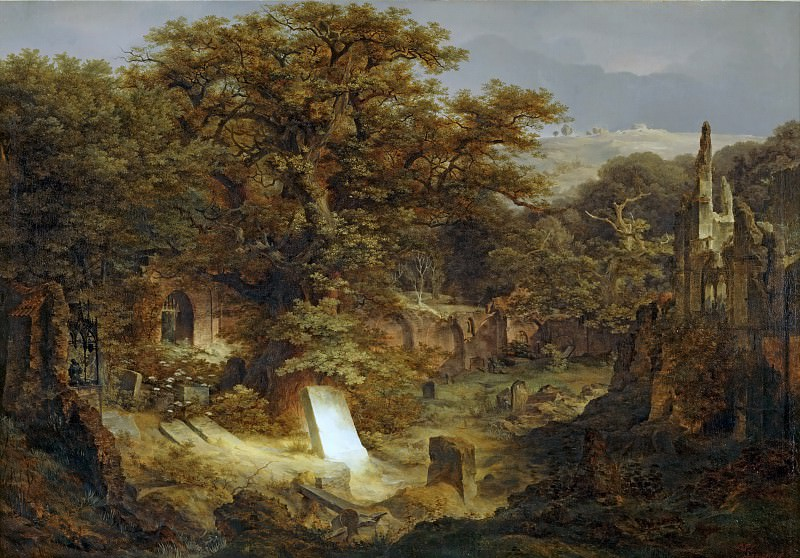 Govaert Flinck -- Landscape with Tombstone and Ruins. Part 3 Louvre