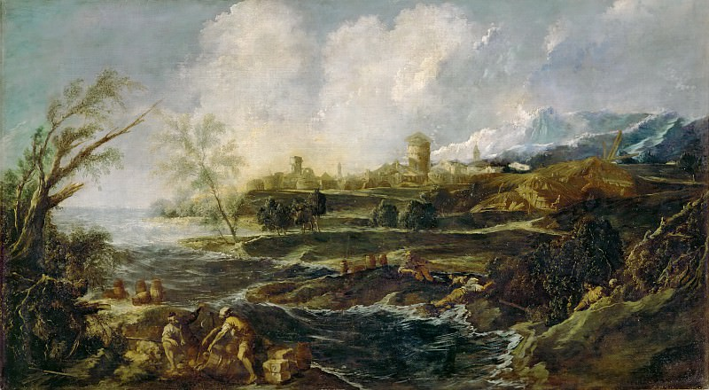 Alessandro Magnasco -- Landscape with Two Figures. Part 3 Louvre