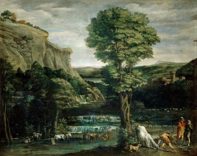 Domenichino -- Landscape with Hercules fighting Achelous changed into a bull. Part 3 Louvre