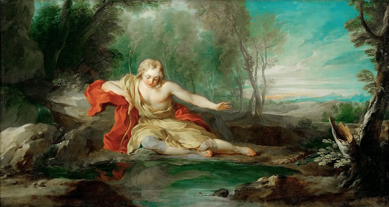 François Lemoyne (1688-1737) -- Narcissus Contemplating His Image Mirrored in the Water. Part 3 Louvre