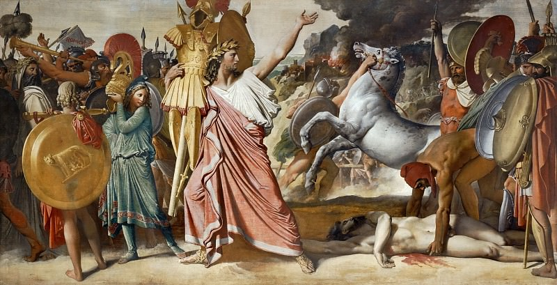 Ingres, Jean Auguste Dominique -- Romulus, vainqueur d'Acron, porte les depuilles opimes au temple de Jupiter-Romulus, victorious against Acron, carries Acron's body to the temple of Jupiter, 1812. Canvas, 276 x 530 cm DL 1969-1. Part 3 Louvre