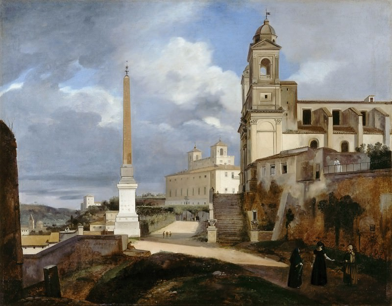 François-Marius Granet -- Trinità dei Monti and the Villa Medici, Rome. Part 3 Louvre