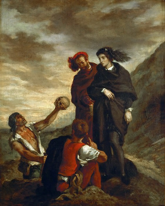 Eugène Delacroix -- Hamlet and Horatio in the Graveyard. Part 3 Louvre