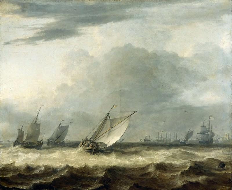 Allart van Everdingen -- Sailing Vessels in Stormy Weather (Bateaux par grand vent). Part 3 Louvre