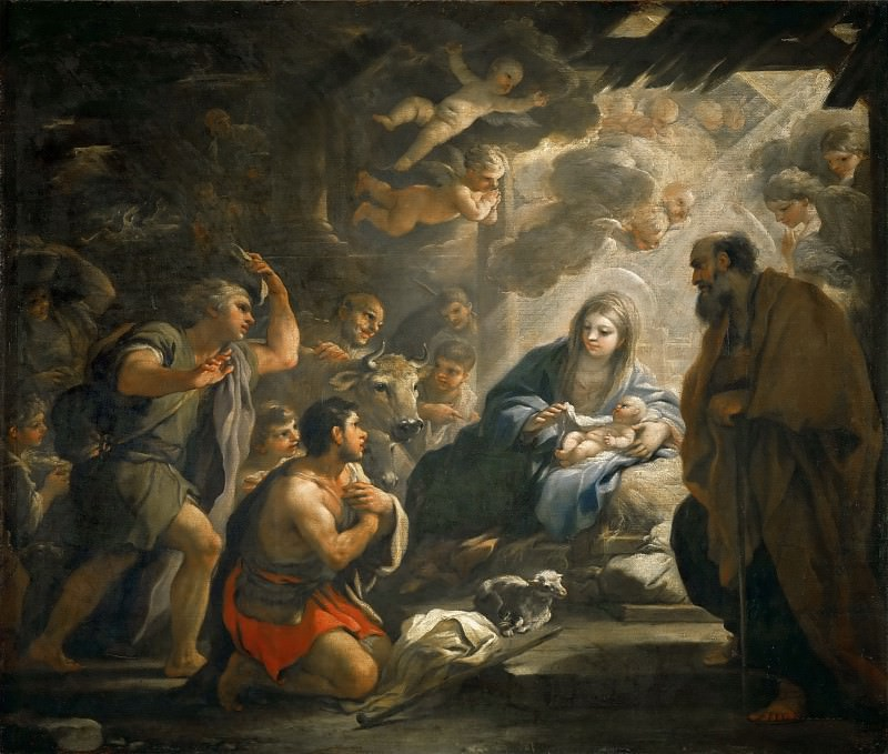 Luca Giordano -- Adoration of the Shepherds. Part 3 Louvre