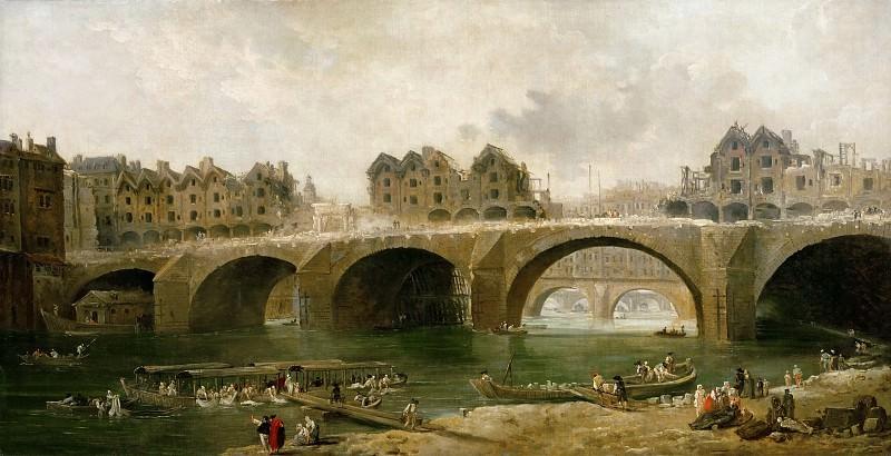 Robert, Hubert -- Demolition des maisons du pont Notre-Dame, en 1786 (Demolition of the houses on the bridge Notre-Dame in Paris, France, in 1786). Oil on canvas 73 x 140 cm-RF 1947-38. Part 3 Louvre