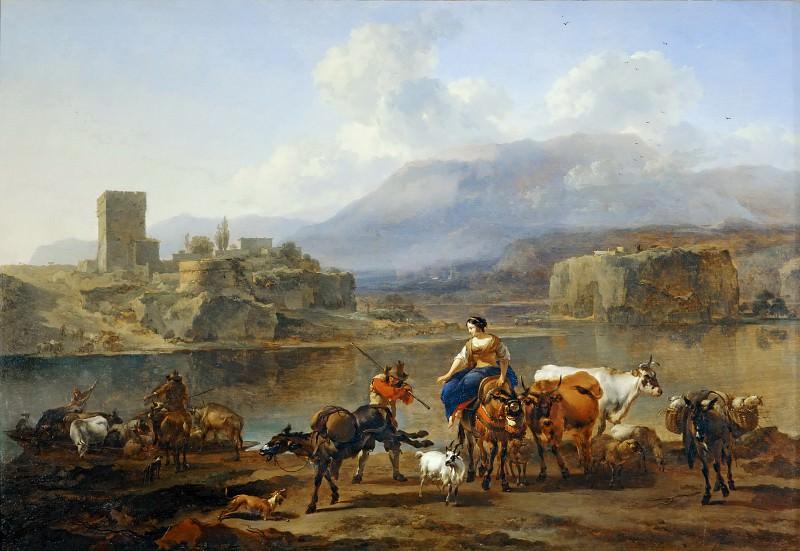 Берхем, Николас Питерс (1620 Харлем - 1683 Амстердам) -- Пейзаж с пастухами и стадом. часть 3 Лувр