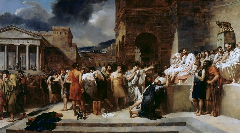 Guillaume Lethiere -- Brutus condemns his son to death. Part 3 Louvre