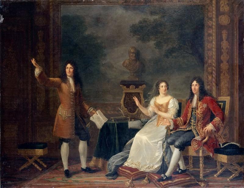 Phlipaut, Julie -- Racine lisant Athalie devant Louis XIV et Mme.de Maintenon.Painted 1819. Canvas 114 x 146 cm INV.7204. Part 3 Louvre