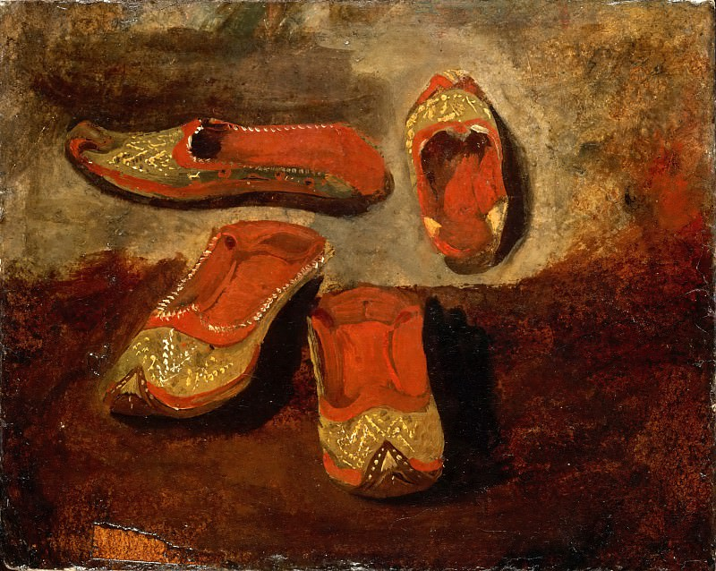 Eugène Delacroix -- Study of babouches (Turkish slippers). Part 3 Louvre