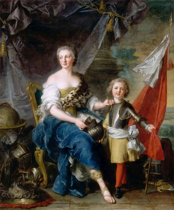 Jean-Marc Nattier -- Mademoiselle de Lambesc of the House of Lorraine, as Minerva, arming her brother, the Comte de Brionne, and directing him to the arts of war. Part 3 Louvre