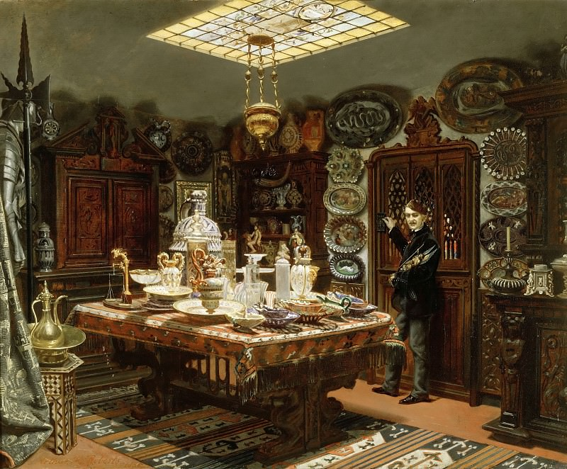 Arthur Henry Roberts -- View of the pieces of art in the apartment of Monsieur Sauvageot, 56 Faubourg Poissonnière, before transfer of his collection to the Louvre. Part 3 Louvre