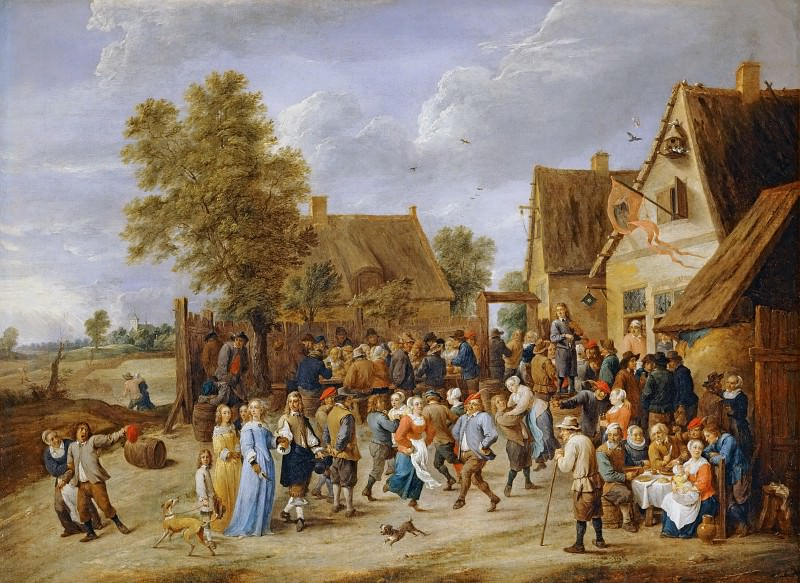 David Teniers II -- Village festival with aristocratic couple. Part 3 Louvre